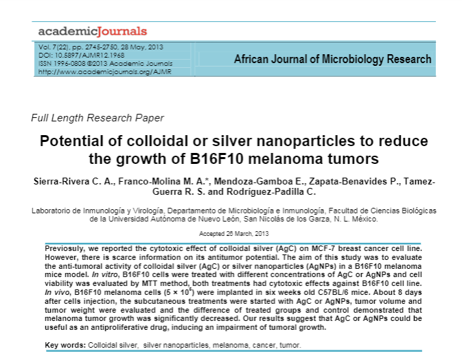 potential of colloidal or silver nanoparticles to reduce growth of B16F10 melanoma tumors article screenshot