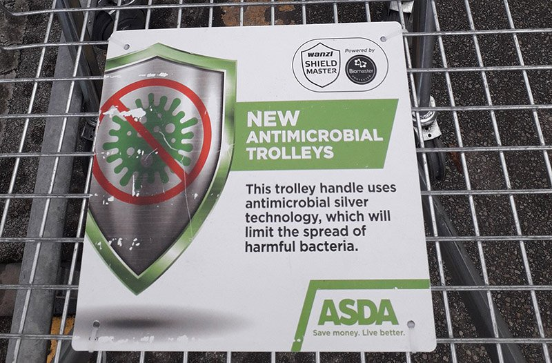 ASDA shopping cart - Grocery Store Chain Using Antimicrobial Silver Technology