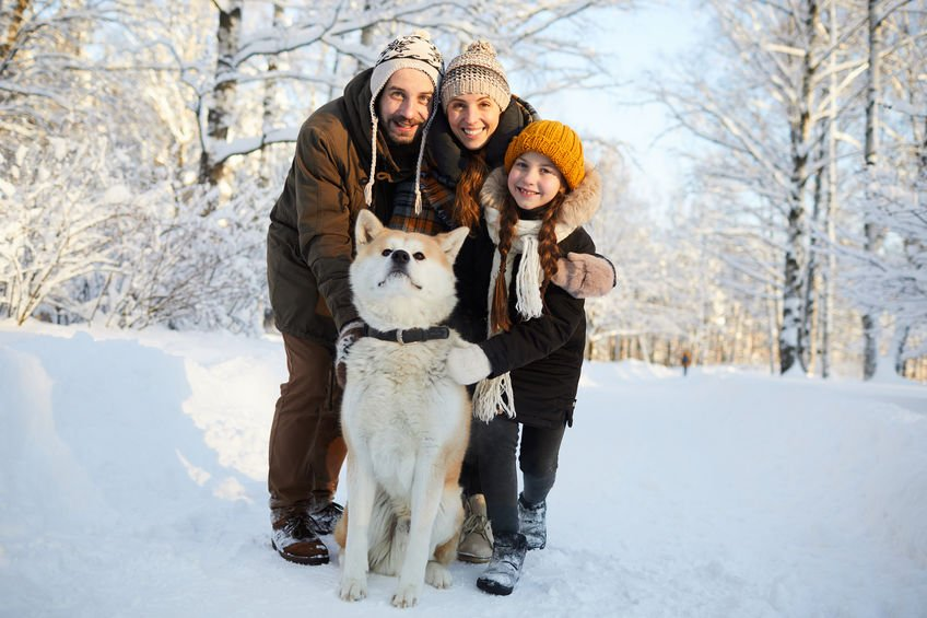 Family Posing with Dog Outdoors - Fight Peak Flu Season With Colloidal Silver!