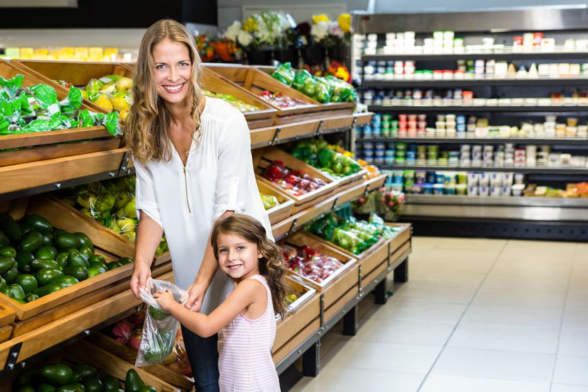 Mother and daughter doing shopping in grocery store - Colloidal Silver's Astonishing Ability to Kill Salmonella